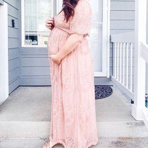 Pink maternity dress